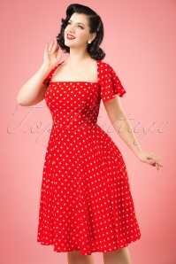 50s Juliet Polka Dot Swing Dress in Red