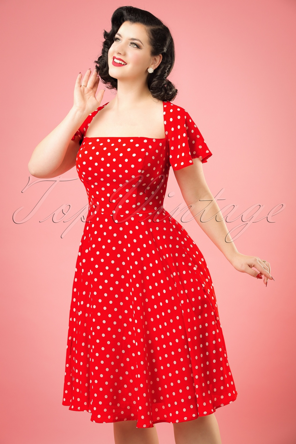 1950s Polka Dot Dresses 50s Juliet Polka Dot Swing Dress in Red £60.06 AT vintagedancer.com