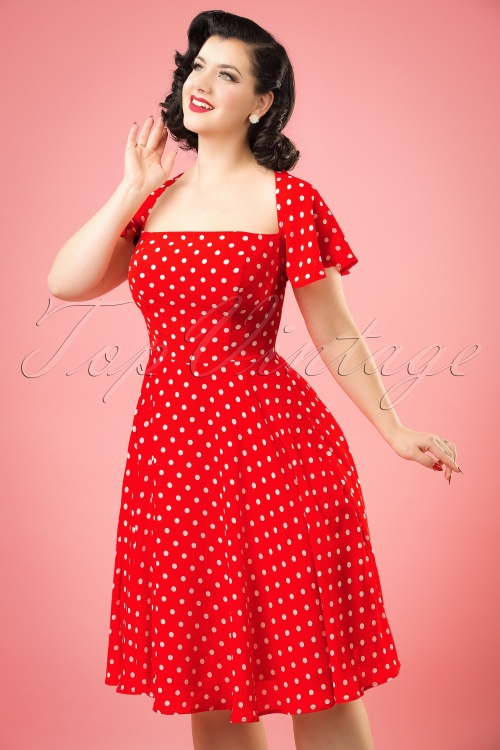 Aida Zack Juliet Polkadot Swing Dress in Red 20104 20161128 1bw
