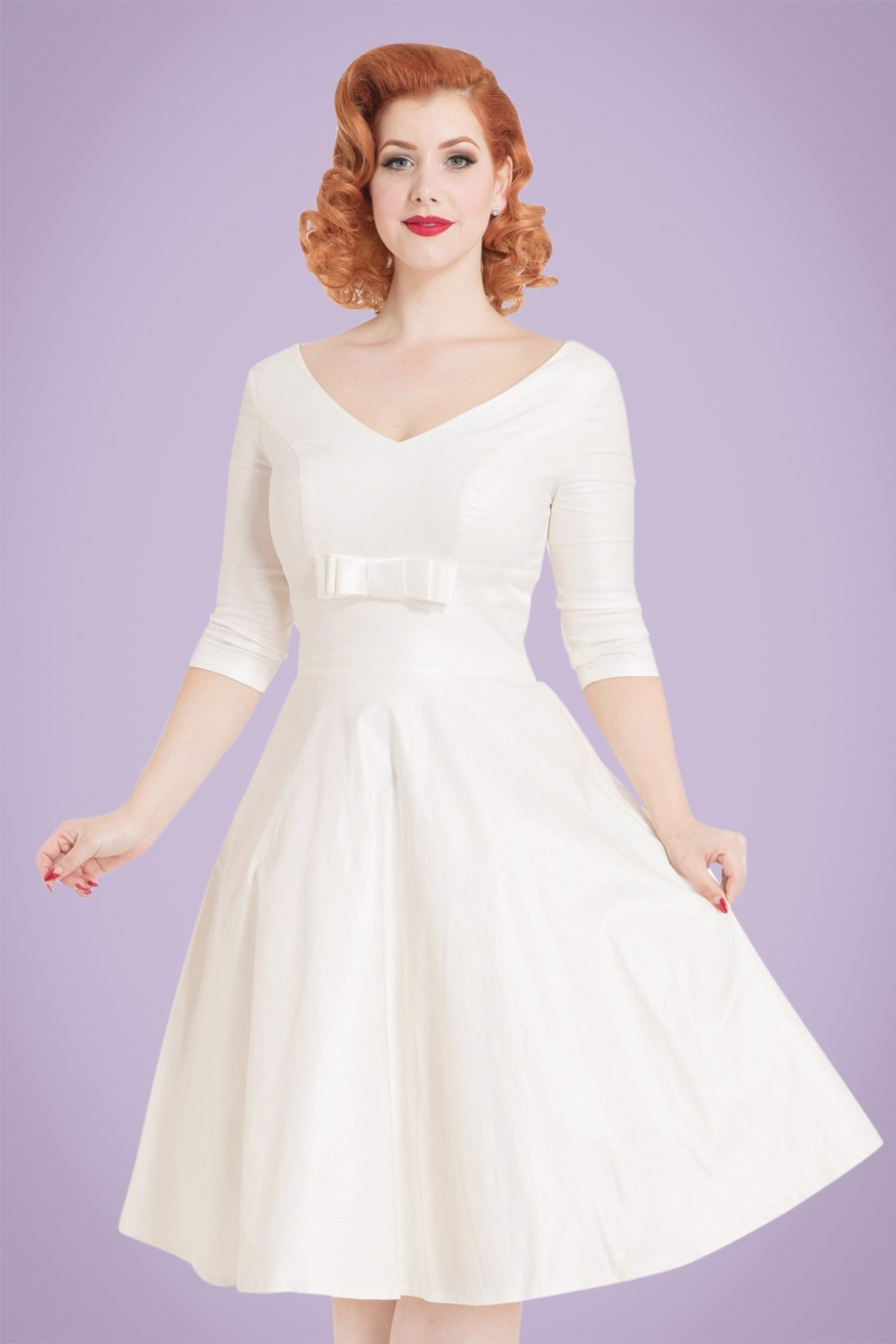 Vintage Inspired Cocktail Dresses, Party Dresses 50s Dorothy Bridal Swing Dress in Ivory £127.27 AT vintagedancer.com