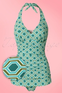 50s Retro Rushed Halter Swimsuit in Blue and Green