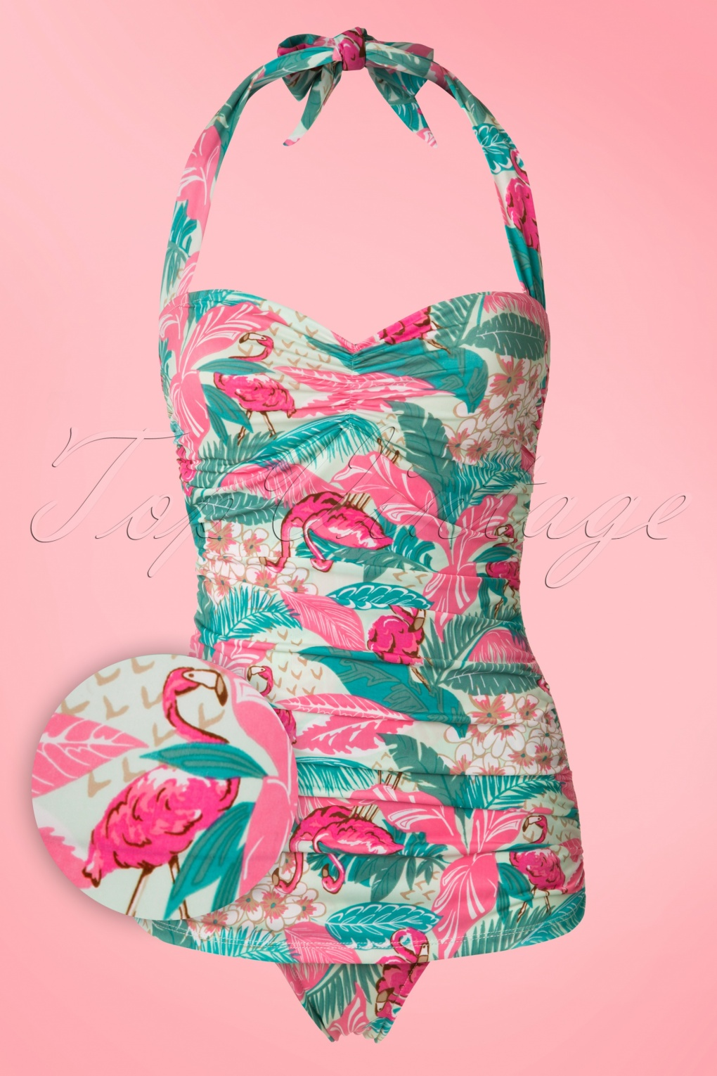 Vintage Inspired Retro Swimsuits 50s Flamingo Sarong Front Swimsuit in Mint £87.41 AT vintagedancer.com