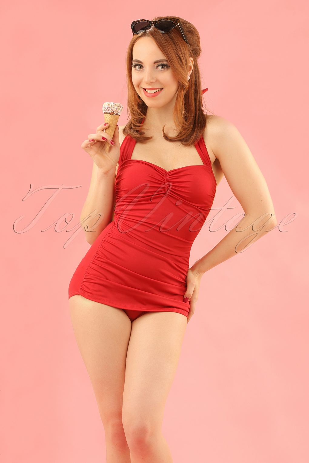 Vintage Inspired Retro Swimsuits Classic Fifties One Piece Swimsuit in Red £90.19 AT vintagedancer.com