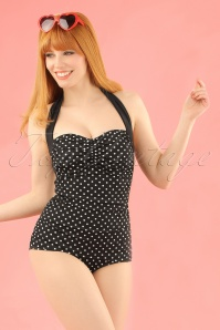 50s Hannah Polkadot Swimsuit in Black