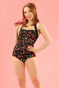 50s Cherry Pop Swimsuit in Black