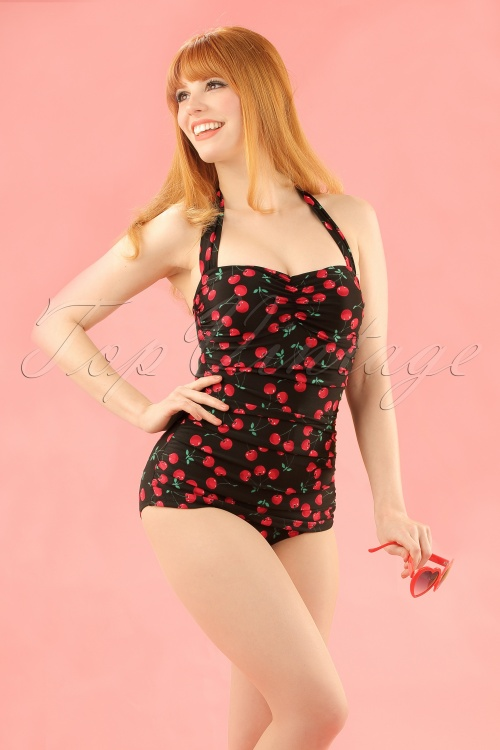 ee47435b42b30 ESTHER WILLIAMS classic fifties one piece swimsuit Cherry Black