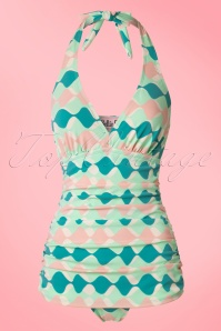 50s Retro Rushed Halter Swimsuit in Green and Pink
