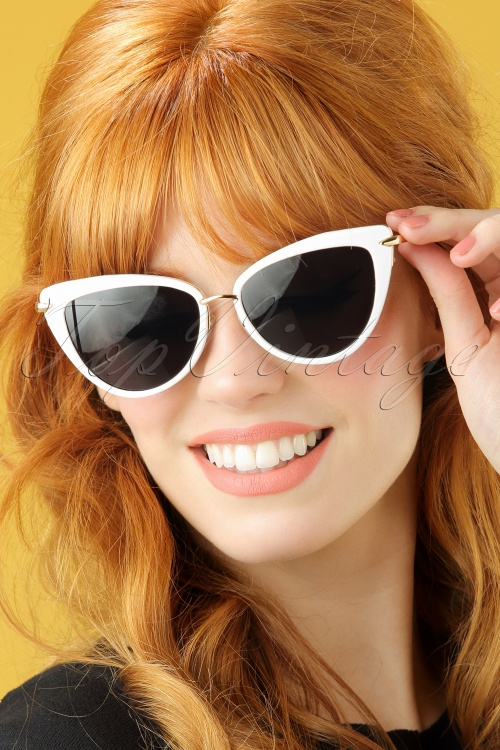 Collectif White and Gold Dita Cats Eye Sunglasses 260 50 20353 model01W