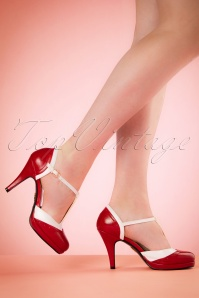 50s Anne T-Strap Pumps in Red and White