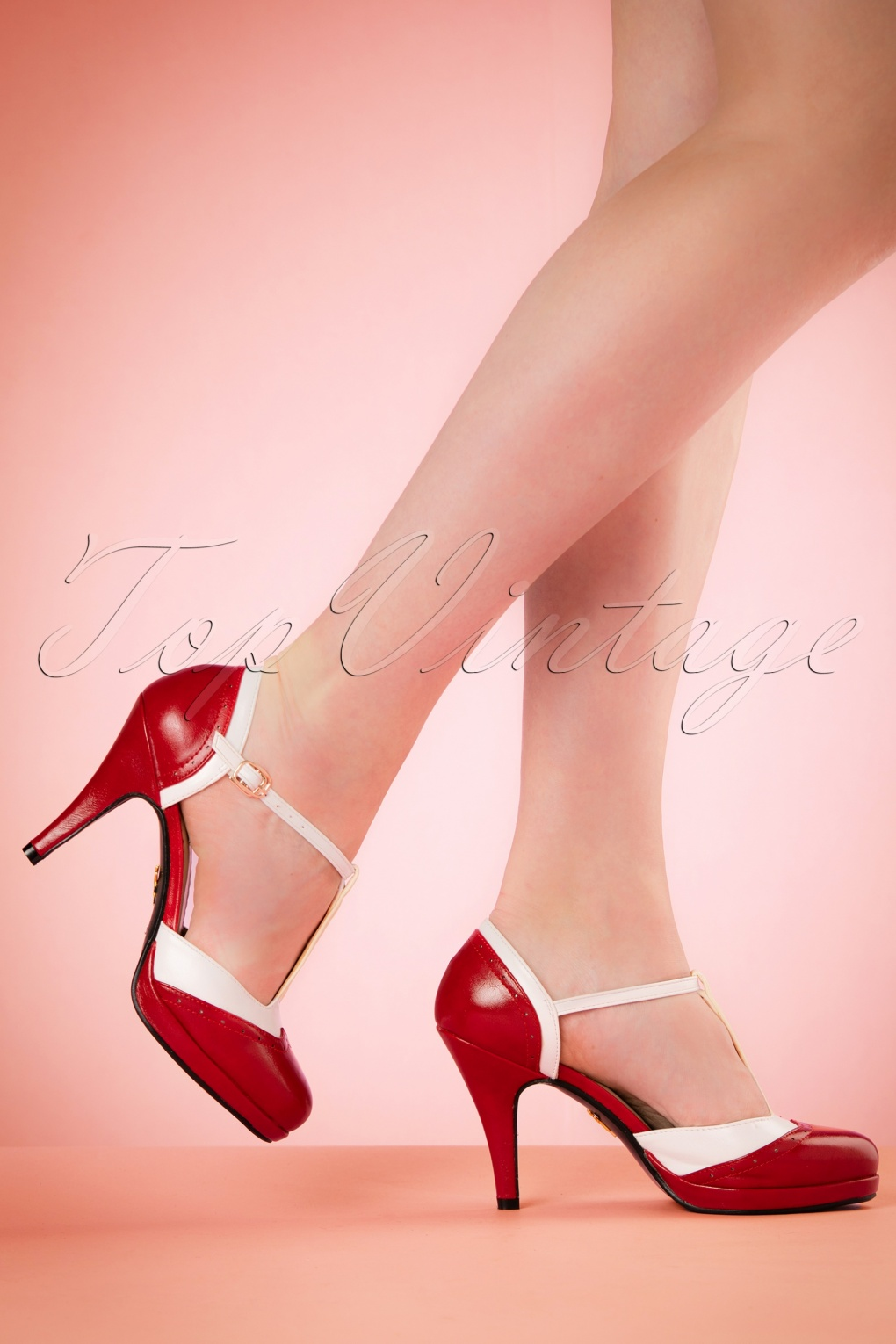 Vintage Style Shoes, Vintage Inspired Shoes 50s Anne T-Strap Pumps in Red and White £34.47 AT vintagedancer.com