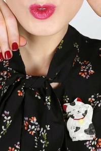 Erstwilder Neko The Bekoner Brooch Cream White Model