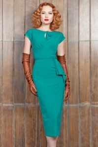 40s Timeless Pencil Dress in Turquoise