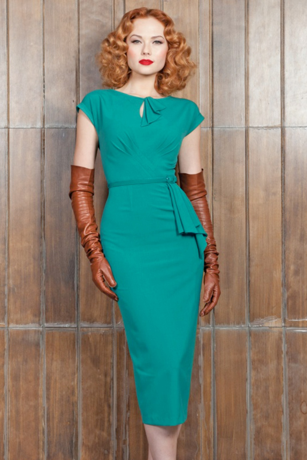 Vintage Inspired Cocktail Dresses, Party Dresses 40s Timeless Pencil Dress in Turquoise £188.74 AT vintagedancer.com