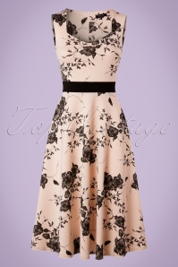 TopVintage Exclusive ~ Veronique Floral Swing Dress Années 50 en Chair