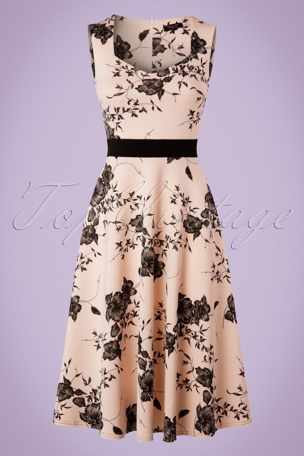 Pin Up Dresses | Pin Up Clothing TopVintage Exclusive  50s Veronique Floral Swing Dress in Nude £43.86 AT vintagedancer.com