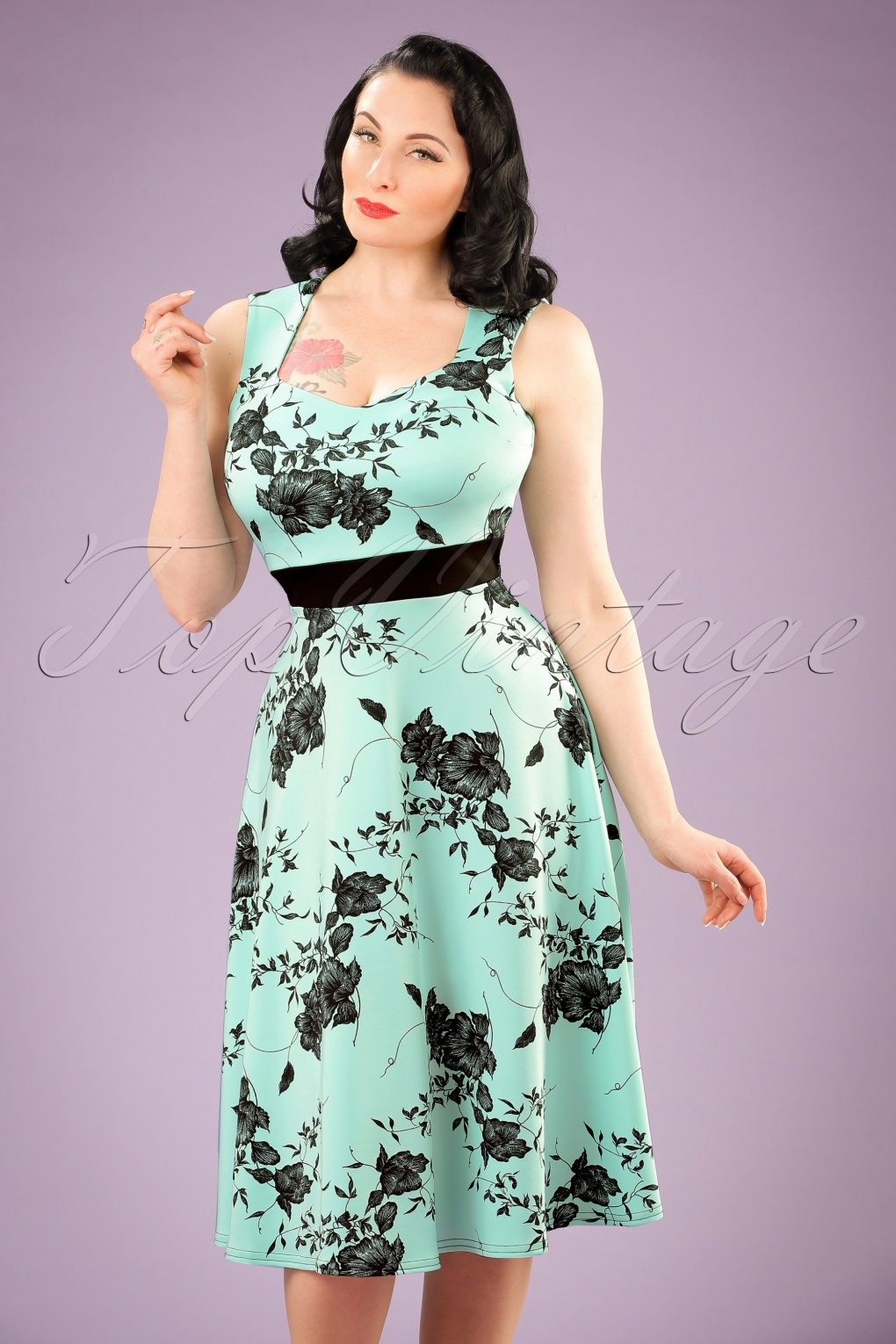 Vintage Inspired Cocktail Dresses, Party Dresses TopVintage Exclusive  50s Veronique Floral Swing Dress in Mint £43.86 AT vintagedancer.com