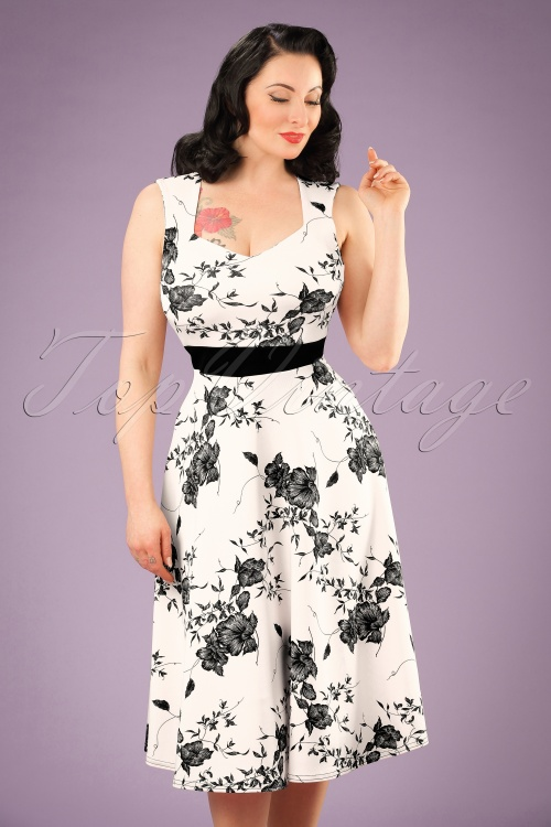 Vintage Chic Veronica White Dress Flower Print 102 59 19388 20160629 0013w