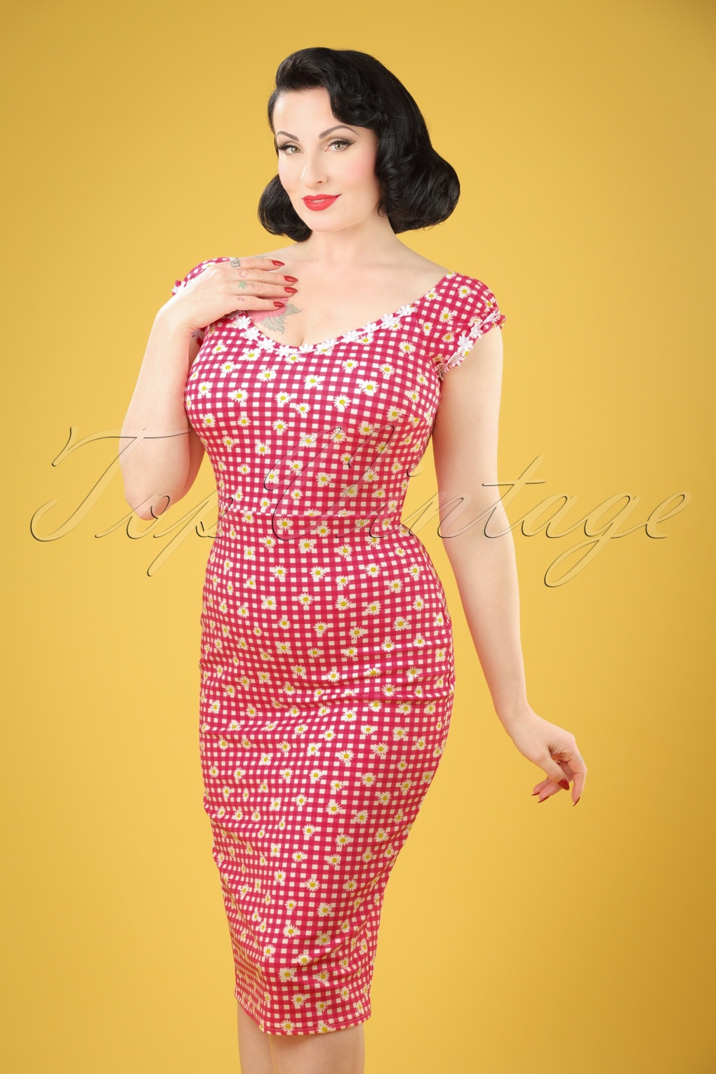 Wiggle Dresses | Pencil Dresses 50s Rachel Checked Pencil Dress in Red and White £32.20 AT vintagedancer.com