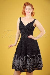 50s Polly Polkadot Swing Dress in Black