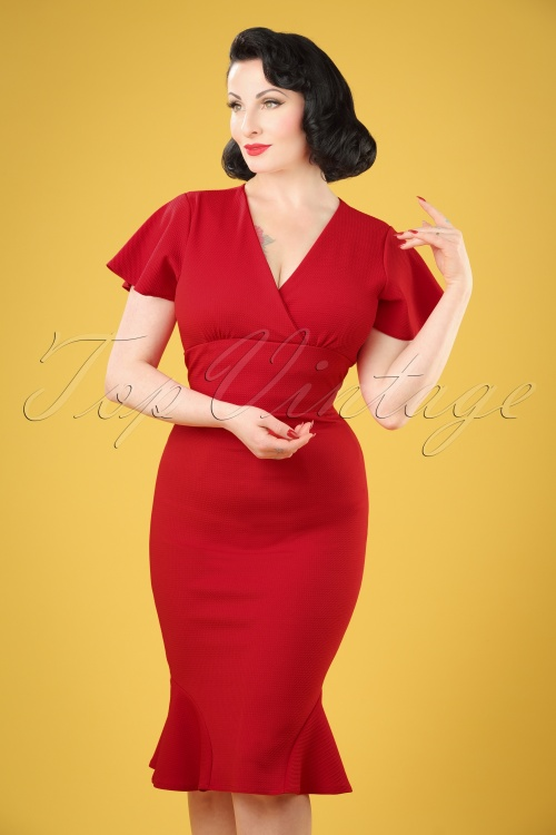 Vintage Chic Pique Fabric Waterfall Sleeve Dress 100 20 20985 20170411 1W