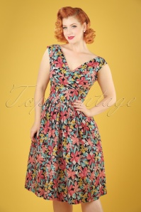 50s Florence Exotic Blooms Dress in Multi