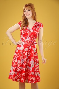 50s Dawn Flower Swing Dress in Red