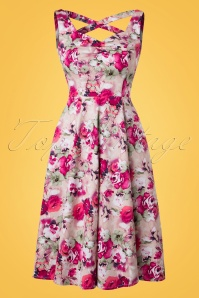 Hearts and Roses  50s Samantha Pink Flowers Swing Dress 102 29 19098 20160210 0008W