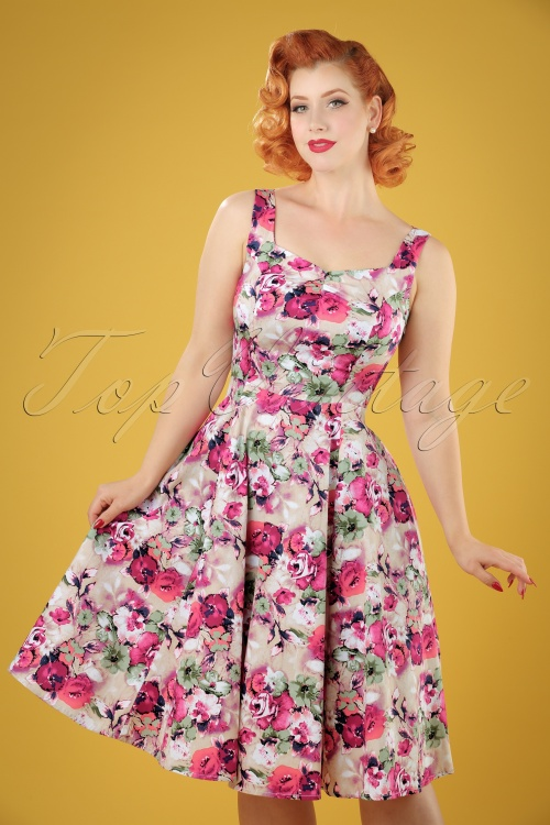 Hearts and Roses  50s Samantha Pink Flowers Swing Dress 102 29 19098 20160210 1W