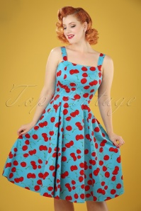 50s Martina Cherry Sun Swing Dress in Aqua Blue