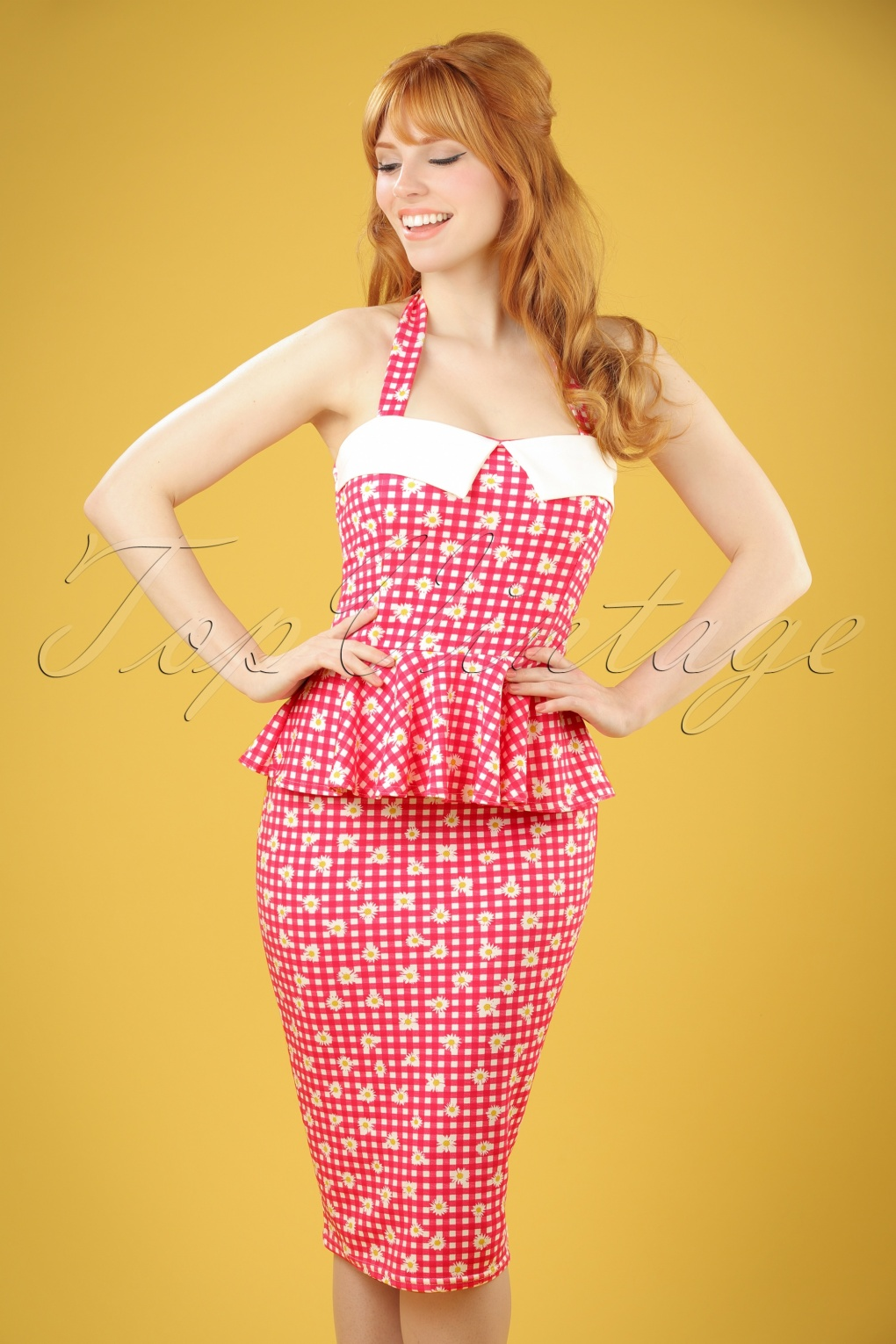 Wiggle Dresses | Pencil Dresses 50s Rachel Checked Halter Pencil Dress in Red and White £32.20 AT vintagedancer.com