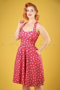 50s Judith Checked Swing Dress in Red and White