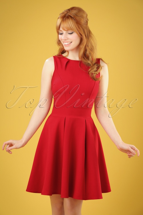 Vintage Chic Super Crepe Red dress 102 20 20990 model05w