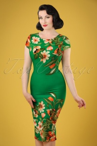 60s Aloha Tropical Garden Short Sleeves Pencil Dress in Emerald Green