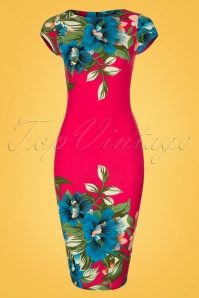 60s Aloha Tropical Garden Short Sleeves Pencil Dress in Hot Pink