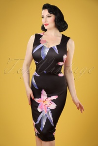 50s Veronica Floral Pencil Dress in Black