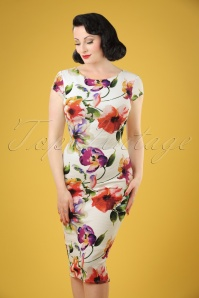 Vintage Chic for TopVintage 50s Marcia Floral Pique Pencil Dress in Ivory