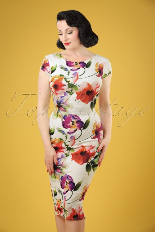 Vintage Chic Pique Fabric Floral Print Pencil Dress 100 57 21335 20170425 1W