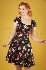 50s Claudia Floral Swing Dress in Black
