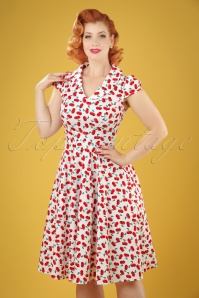 50s Blossom Cherry Swing Dress in White