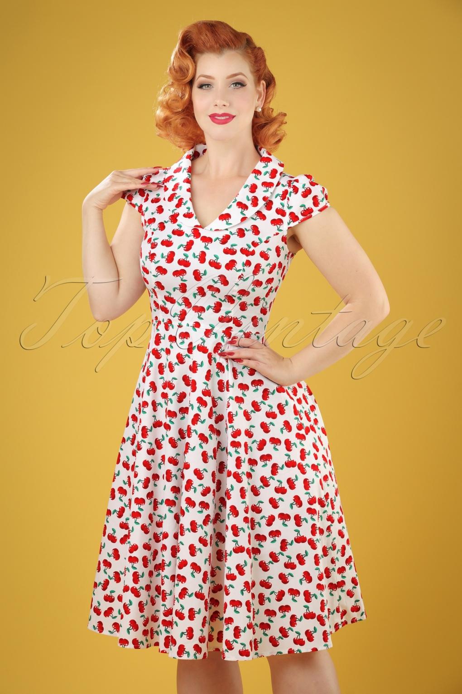 1940s Pinup Dresses for Sale 50s Blossom Cherry Swing Dress in White £48.33 AT vintagedancer.com