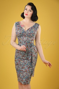 TopVintage exclusive ~ 50s Rita Blue Bird Pencil Dress in Sky Blue