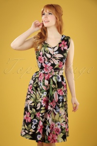 50s Petal Vintage Flowers Swing Dress in Black