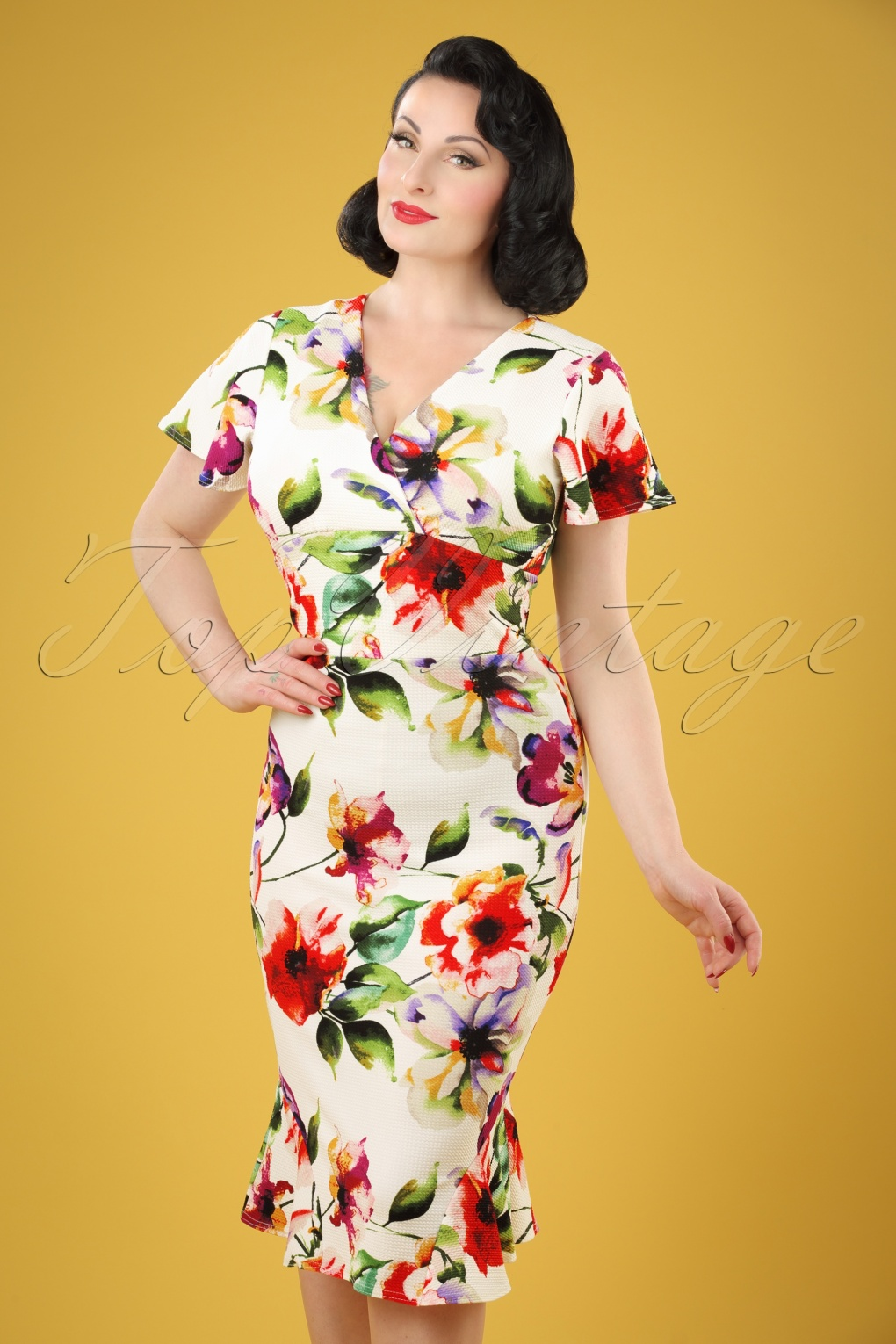 Wiggle Dresses | Pencil Dresses 50s Peggy Floral Waterfall Pencil Dress in Ivory £48.22 AT vintagedancer.com
