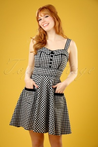 50s Bridget Gingham Mini Swing Dress in Black and White
