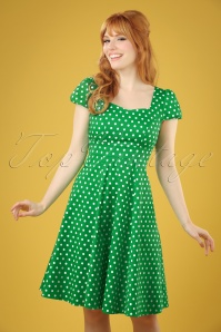 50s Claudia Polkadot Swing Dress in Green