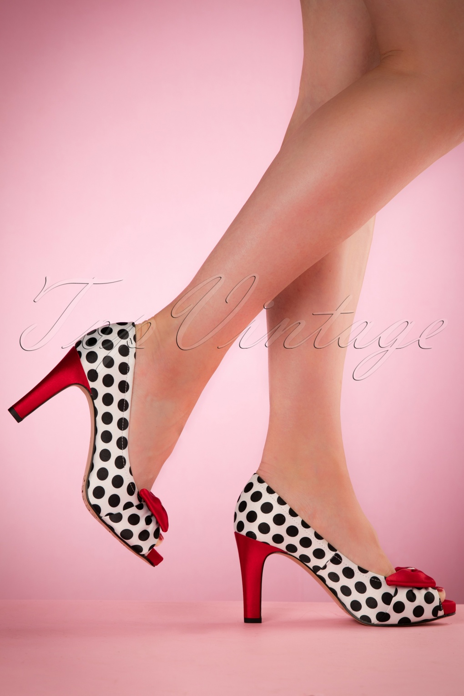 Pin Up Shoes- Heels & Flats 50s Olivia Peeptoe Red Bow Pumps £51.50 AT vintagedancer.com
