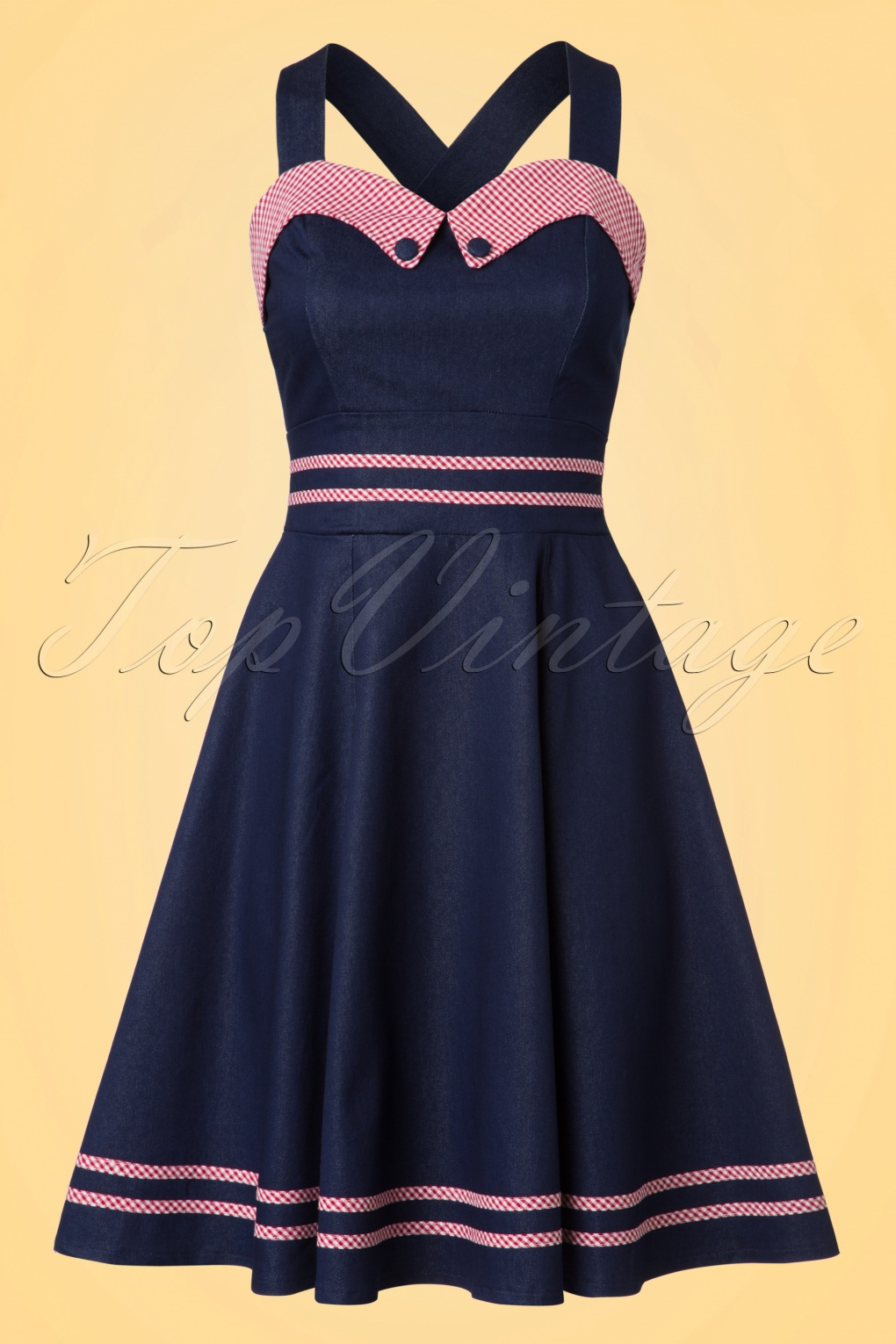 1950s Inspired Fashion: Recreate the Look 50s Jadore Halter Dress in Navy £51.80 AT vintagedancer.com