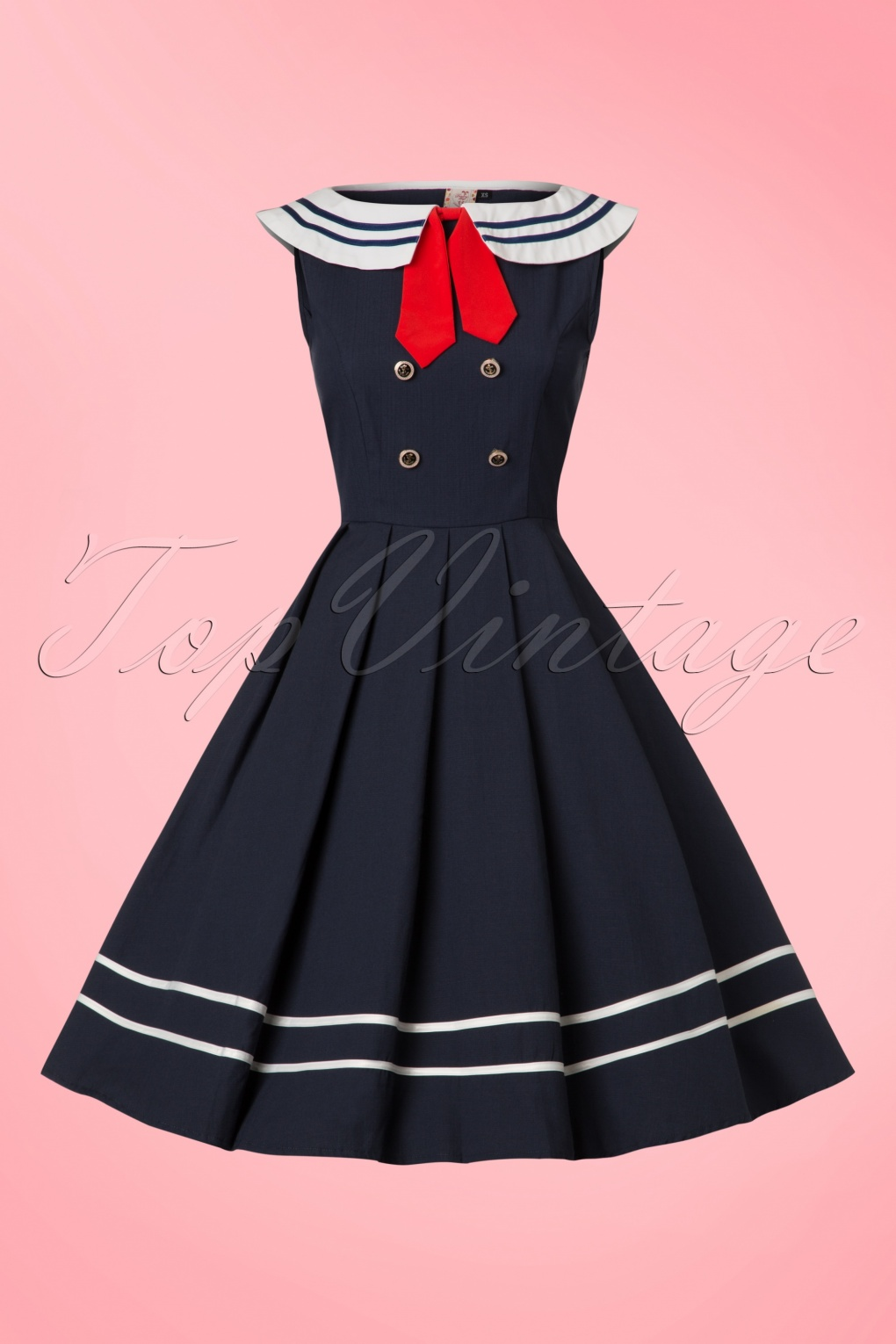 50s Dresses, Pinup Dresses, Swing Dresses 50s Aquarius Sailor Swing Dress in Navy £42.91 AT vintagedancer.com