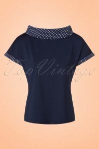 Banned Retro 50s Alicia Blouse in Navy