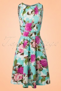 50s Veronica Floral Flare Dress in Mint Blue